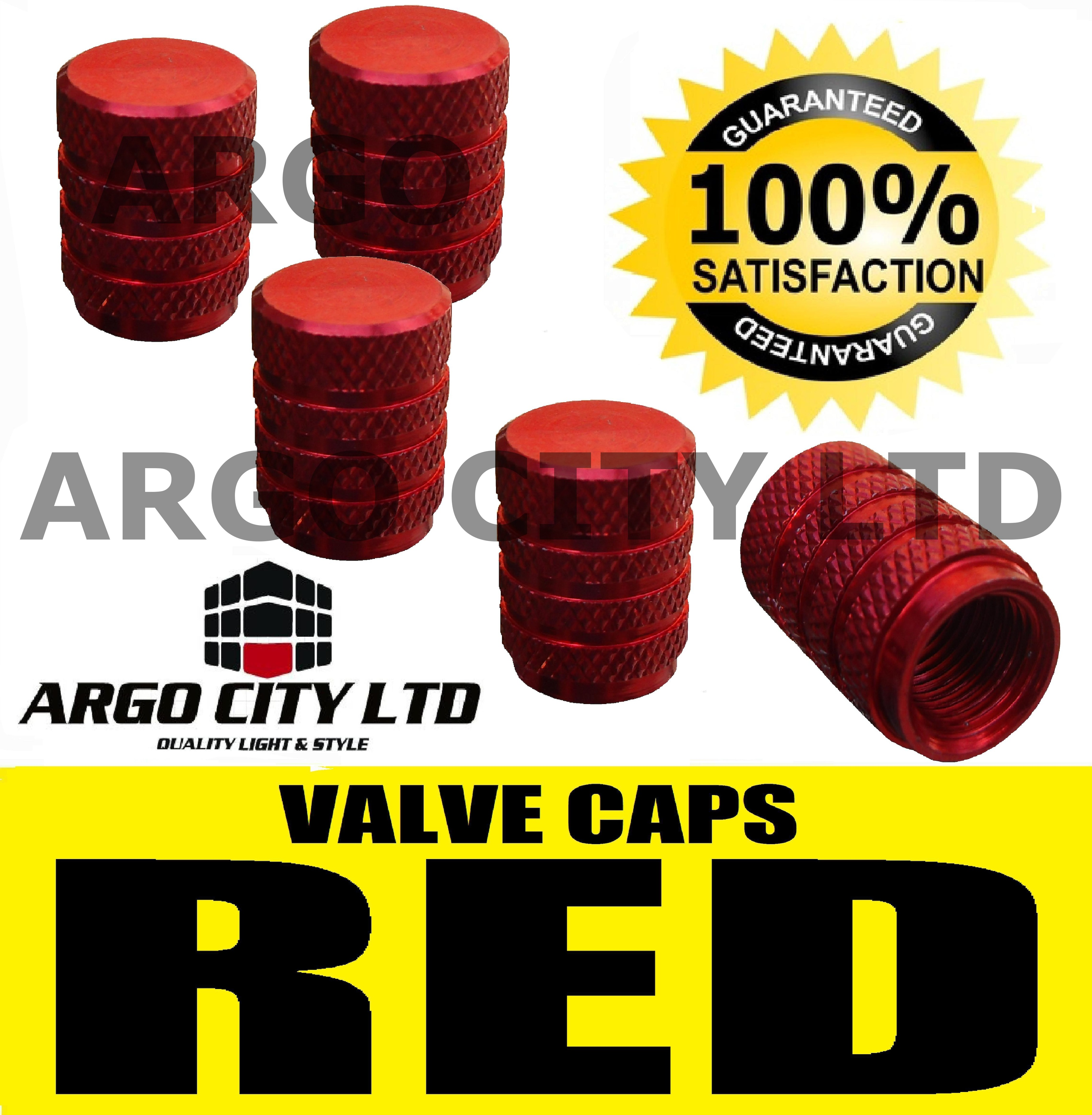 RED CHROME ALUMINIUM VALVE DUST TYRE WHEEL CAPS CAR VAUXHALL TIGRA CONVERTIBLE